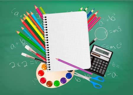 sport ecole: Sauvegardez � l'�cole. Bloc-notes avec des fournitures scolaires. Vecteur. Illustration