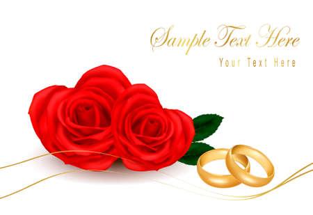 Anillos de boda y bouquet de rosas. Ilustración vectorial.  Foto de archivo - 10553688