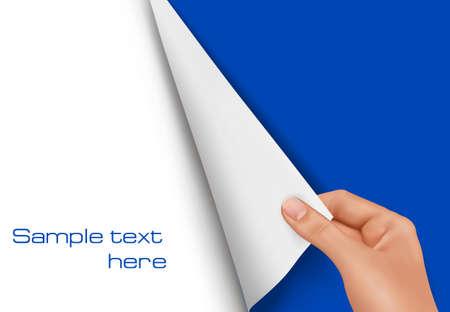 turn the corner: Vector de fondo. Hoja en blanco de papel con la mano.  Vectores