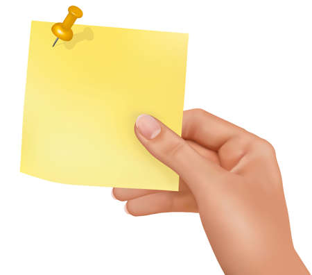 turn yellow: Hand holding yellow sticker with your message. Vector