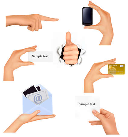 Set of hands holding different business objects. Vector illustration  Vector