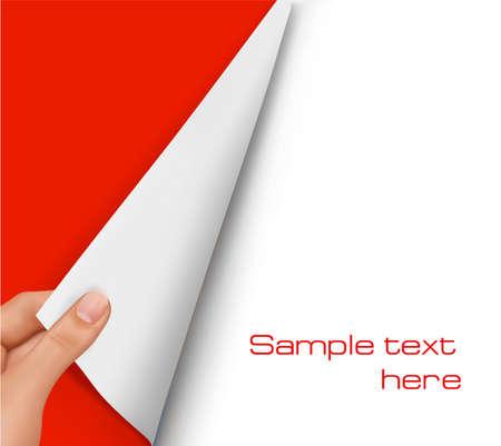 Hoja en blanco de papel con la mano. Vector de fondo.