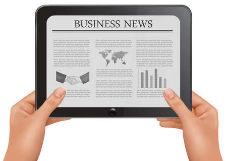 newspaper headline: Hands holding digital tablet pc with business news. Vector illustration