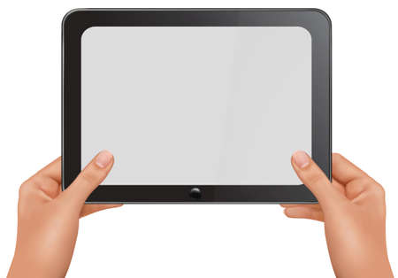 touch pad: Background vector. Hands holding digital tablet pc . Vector illustration Illustration