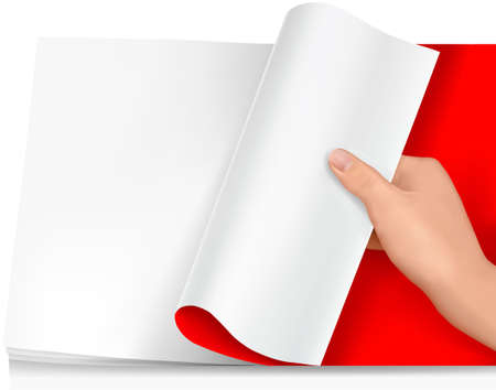 Blank sheet of paper with hand.