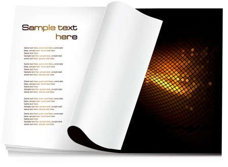 turn the corner: Vector de fondo. Abrir la revista en blanco