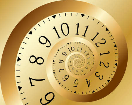 time line: Infinity time. Gold clock. Vector illustration