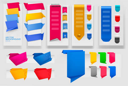 Collection of colorful origami paper banners. Vector illustration. Illustration
