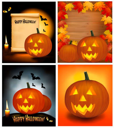Set of Halloween background with scary pumpkins, bats, cat eyes and a candle. Vector. Vector