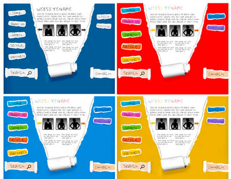 internet search: Four different websites made from ripped paper. Design template. Vector. Illustration