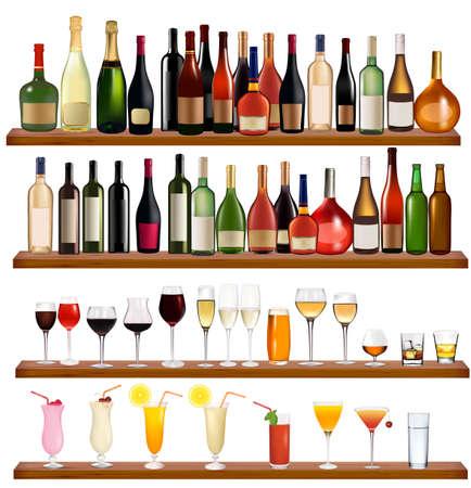 whiskey: Набор различных напитков и бутылки на стене.