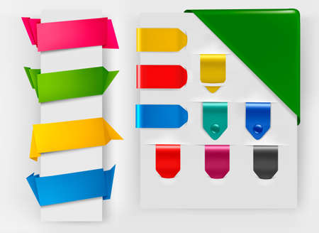 origami banner: Big collection of colorful origami paper banners and stickers. Illustration