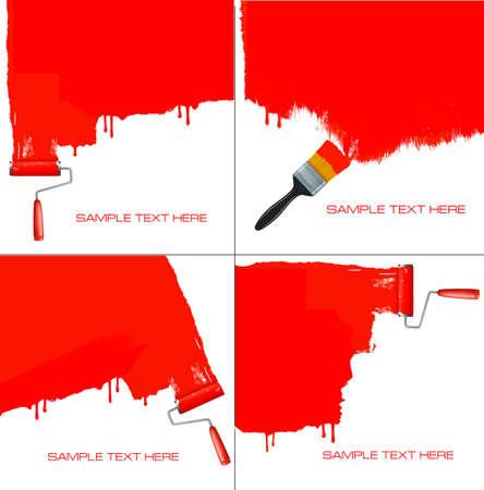 interior decorating: Rullo di pittura rossa la parete bianca. Vettoriali