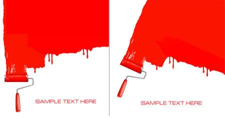 decorando: Rodillo rojo pintar la pared blanca Vectores