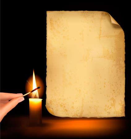 Fondo con papel viejo y mano un match ardiente y vela.