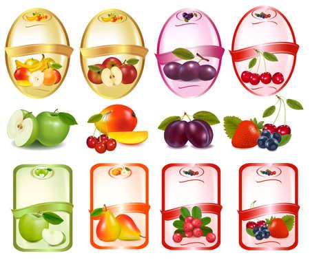 Set von Etiketten mit Beeren und Früchten.
