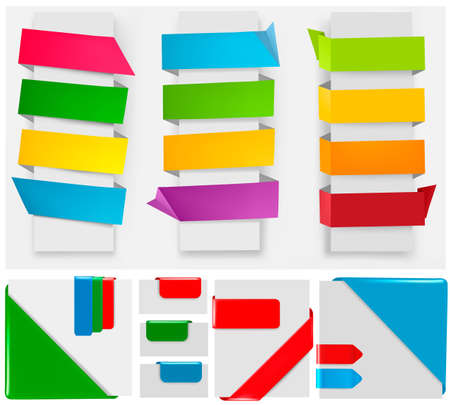 origami paper: Big collection of colorful origami paper banners and stickers.