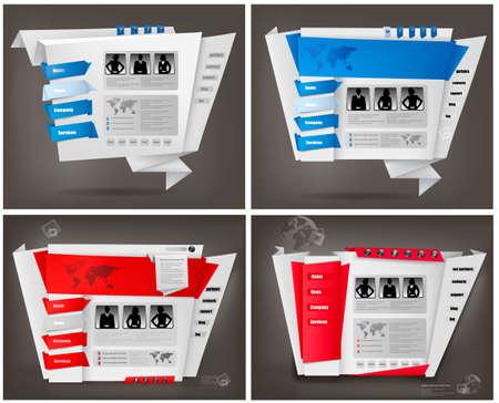 Set of business website design templates. Stock Vector - 10860950