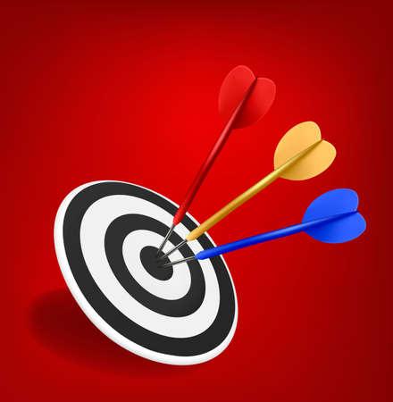 arco y flecha: Dardos colorido dar en un blanco. El éxito concepto.