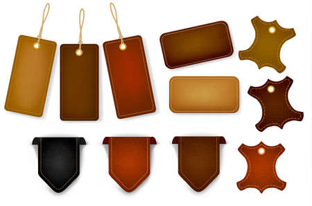 leather background: Big set of leather labels and tags.