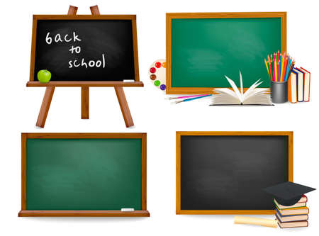 Set of school board blackboards. Back to school. Vector