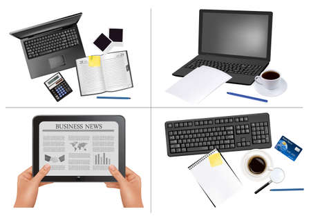 Big set of business and office backgrounds.  Vector