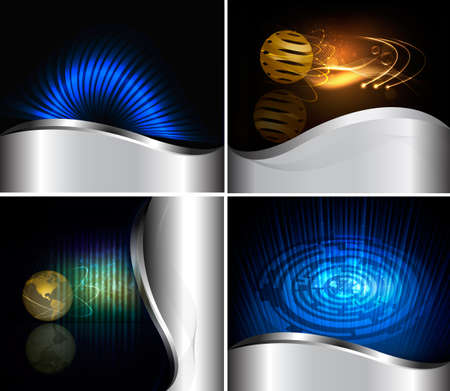 Big set of abstract technology backgrounds. Vector illustration Stock Vector - 10945857