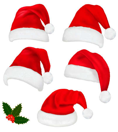 christmas costume: Collection of red santa hats with and Christmas holly. Vector.