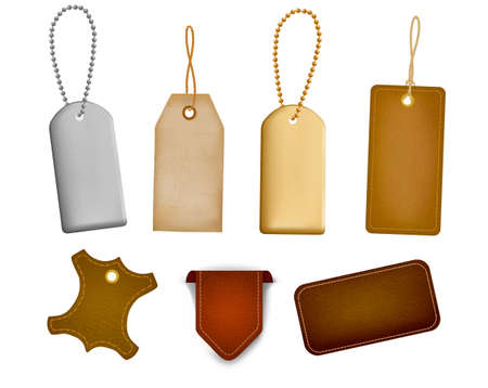 Big set of leather labels and tags. Vector illustration  Vector