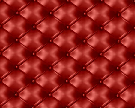 tufted: Red button-tufted leather background. Vector illustration.