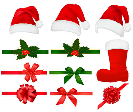 Collection of red santa hats with and Christmas holly and ribbons. Vector.  Vector