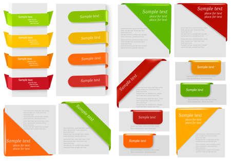 Grote verzameling van kleurrijke origami papier banners en stickers. Vector illustratie.