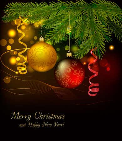 navidad elegante: Bolas rojas y oro sobre fondo de Navidad. Ilustraci�n vectorial