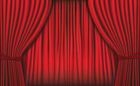 movie poster: Background with red velvet curtain. illustration.