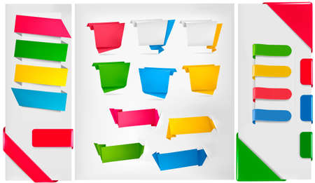 origami banner: Big collection of colorful origami paper banners and stickers. illustration.