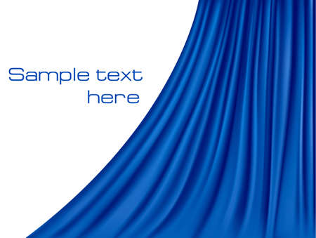 Background with blue velvet curtain. illustration.  Vector