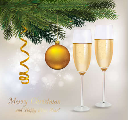 x mas party: illustration. Two glasses of champagne and a bottle, yellow ball and tree.  Illustration