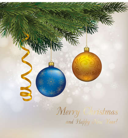 Christmas background with christmas tree branches and christmas baubles.  Vector