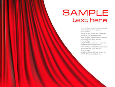 theater curtain: Background with red velvet curtain. illustration.