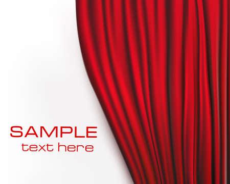 Background with red velvet curtain. illustration.