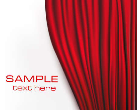 red stage curtain: Background with red velvet curtain. illustration.
