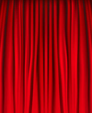 show window: Background with red velvet curtain. illustration.
