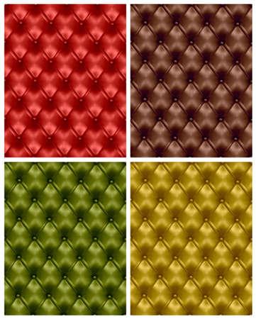 sofa viejo: Conjunto de coloridos fondos de cuero con botones penacho. ilustraci�n. Vectores