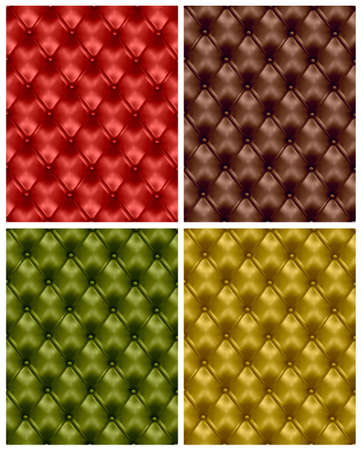 Set of colorful button-tufted leather backgrounds. illustration.