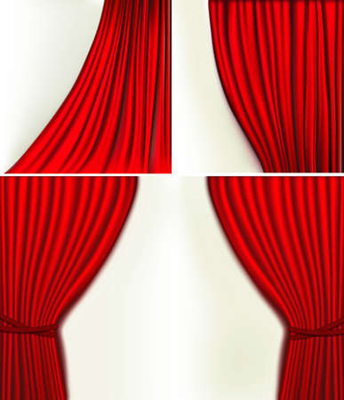 curtain window: Set of backgrounds with red velvet curtain. illustration
