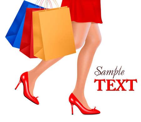 Waist-down view of shopping woman wearing red high heel shoes and carrying shopping bags. illustration.  Vector