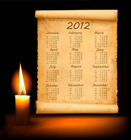 Old paper with calendar 2012. Vector