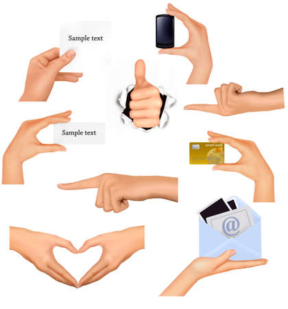 Set of hands holding different business objects.  Stock Vector - 11098540
