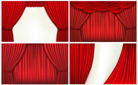 Set of backgrounds with red velvet curtain.  Vector