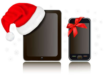 Christmas Tablet Computer with Santa hat and mobile phone with ribbon.  Vector